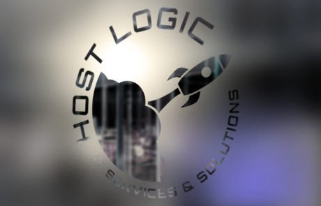 Host-Logic logo on frosted glass door